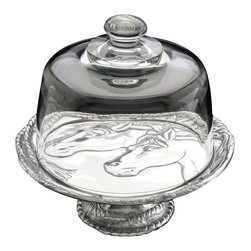 "Arthur Court - Horse 8"" Footed Plate with Glass Dome - Corral your cakes and other fine baked goods on a plate that shows you're sweet on horses. This brilliant cast aluminum piece, topped by a glass dome, keeps treats fresh and looks beautiful doing it."