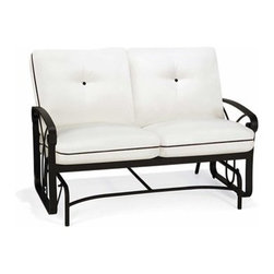 """Winston - Winston Palazzo Cushion Cast Aluminum Arm Love Seat Glider - Aluminum Frames All Winston Furniture is created from non-rusting aluminum. Whether the frames are extruded (hollow tubes of aluminum formed and welded) or solid cast you can rest assured that the quality of the raw material are of the highest grade and meet industry standards for commercial use. Heliarc welding processes are utilized which ensure the strongest welds possible for aluminum joints. Cast Aluminum Winston's manufacturing facility includes an on-site aluminum foundry where all cast aluminum components are created. This eliminates outside vendors who most other manufacturers rely upon for their cast furniture. Winston is able to closely monitor the quality of the castings and ensures that the aluminum used in the casting process is pure aluminum. An additional step in Winston's casting process involves """"out gassing"""" which removes gas bubbles in the melting process which if not removed will cause weak aluminum when the trapped bubbles cure in the poured aluminum molds. These bubbles would result in broken aluminum parts due to the porous casting. This is a step that many casting companies would eliminate.   Alternative Table Tops Winston offers a multitude of table top options- Acrylic Synthetic Stone Fiberglass Cast Aluminum and Copper. This investment of options is an important element of the product line. It offers many design opportunities so that the furniture installation can coordinate effectively with the environment.   Umbrellas Winston offers two styles of umbrellas. The Traditional """"Garden Style"""" umbrella is 7' �"""" in diameter and raises and folds with a manual crank. This umbrella has a push button tilt and comes with a silver anodized pole. The other style is a """"Market"""" umbrella that spans 9' in diameter. This umbrella pole comes in a variety of different colors and also has a push button tile feature and a manual crank. Each umbrella offers more than 150 different fabric of"""