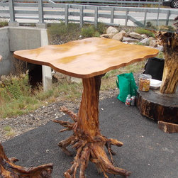 Fall 2012 Products - Accent or bar table with wooden handcrafted top mounted on tree root