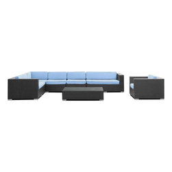 Modway - Palm 7 Piece Sectional Set in Espresso Light Blue - Outfit your patio with an imaginative centerpiece that exceeds expectations. Finely constructed espresso rattan seating sectionals with all-weather light blue fabric cushions make the imaginative a reality in palpable distinction. From subterranean springs to desert terrains, enter a relationship of continuously elevated states and manifest freedom.