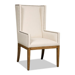 Hooker Furniture - Decorator Chair - Dining Arm Chair 35 - White glove, in-home delivery!  For this item, additional shipping fee will apply.  Fabric: Bayeaux Natural  Side chair is in a set of two chairs.  Arm chair sold individually.