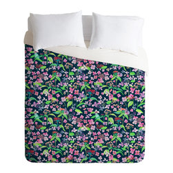 DENY Designs - Rachelle Roberts Hydrangea Flower Print Duvet Cover - Turn your basic, boring down comforter into the super stylish focal point of your bedroom. Our Luxe Duvet is made from a heavy-weight luxurious woven polyester with a 50% cotton/50% polyester cream bottom. It also includes a hidden zipper with interior corner ties to secure your comforter. it's comfy, fade-resistant, and custom printed for each and every customer.