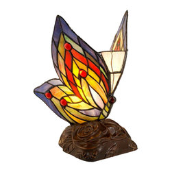 Warehouse of Tiffany - Tiffany Style Yellow Butterfly Accent Lamp - This colorful Tiffany butterfly lamp will add a touch of elegance to any room. The beautiful lamp features 86 cut glass pieces and 10 cabochons that come in primary colors, an easy on and off switch, and a dark brown wooden base for stability.