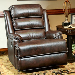 Parker House - Parker House Vulcan Faux Leather Rocker Recliner Multicolor - MVUL#812R-NU - Shop for Recliners from Hayneedle.com! There's never a wasted moment when one of those moments is spent relaxing in the Parker House Vulcan Faux Leather Rocker Recliner. This luxurious and desirable recliner starts with an exterior of supple synthetic leather that gives you that unmistakable look and texture over extra-thick cushions of dense polyurethane foam. A high segmented back and wide rolled arms offer plenty of support as you sit rock or recline. The robust frame is made from high-quality hardwood that's block-reinforced and designed for years of loving attention.About Parker HouseFamily-owned and family-operated Parker House Furniture is based in California and has been serving the fine furniture industry since 1946. The company's time-proven quality is an industry standard. Parker House continues its legacy with its newest line of expanding television consoles and entertainment wall systems plasma TV stands and accessories. Parker House takes pride in the quality of its furniture and is committed to making customer satisfaction its number one priority.