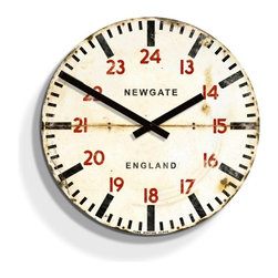 newgate - Tube Station Wood Clock - Barn Light Electric - This unique wall clock has a rustic aged look to it reminiscent of vintage clocks, but with the workings of a new clock. The red 24hr numbers and bold minute markers give this clock a striking appearance.