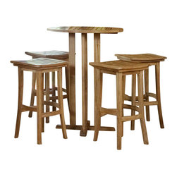 Westminster Teak Furniture - Somerset 5pc Teak Bistro Table Barstool Set - The Somerset Backless Teak Bistro Bar Set is convenient way to add an upscale, relaxed atmosphere to your living space. Major components of this set include Four Somerset Backless Bar Stools and a Somerset Bistro Bar Table.
