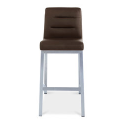 Zuri Furniture - Lynx Counter Height Bar Stool - Brown - The Lynx brushed steel counter stool is a modern piece with a retro twist. Padded with high density foam and covered in soft faux leather for superior comfort, the quilted stitching adds a touch of opulence. This extremely comfortable counter stool cradles the body. Weight capacity of 275 lbs.