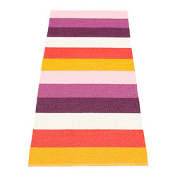 Pappelina - Pappelina Molly Plastic Runner, Orange - This  rug from Pappelina, Sweden, uses PVC-plastic and polyester-warp to give it ultimate durability and clean-ability. Great for decks, bathrooms, kitchens and kid's rooms