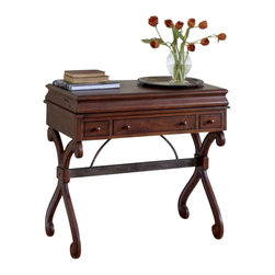 Butler Specialty - Butler Desk - Selected solid woods and choice cherry veneers. Resin components. Desk surface retracts as top is closed. Electrical and telephone wiring included for use with a lap top notebook computer. Three drawers beneath work surface.