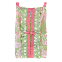 My Baby Sam - My Baby Sam Pink Pixie Baby Diaper Stacker - DS166 - Shop for Diaper Stackers from Hayneedle.com! Keep diapers close by with the darling My Baby Sam Pink Pixie Baby Diaper Stacker. Make changing time easy with this sweet paisley organizer. A green ruffle detail is trimmed in a pink bow for a charming look. Add a finished look to the nursery. Part of the Pink Pixie Baby collection.About My Baby Sam Inc.My Baby Sam was dreamed up by mom-of-three Tori Swaim in 2001. My Baby Sam provides a fun and diverse selection of baby bedding and kids room decor at an affordable price. With their bedding nursery and kids decor letters and baby gifts My Baby Sam products will help you create a dreamy nursery or your child s first big-kid room.
