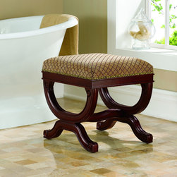 Linon - Augusta Vanity Bench - Create a timeless space with this stunning bench by Linon. An excellent accent piece to liven up your home,this bench is not only stylish with the hand-carved details but is functional with solid hardwood construction.
