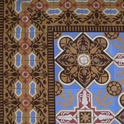 Cuban Heritage Design Handmade Cement Tile - I'm loving the way this cement tile has such vivid color and detail and creates a 'rug' effect in its pattern. As always, would look great in a foyer or vestibule, or powder room floor.