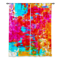 """DiaNoche Designs - Window Curtains Lined by Julia Di Sano - Abstract Jungle V - DiaNoche Designs works with artists from around the world to print their stunning works to many unique home decor items.  Purchasing window curtains just got easier and better! Create a designer look to any of your living spaces with our decorative and unique """"Lined Window Curtains."""" Perfect for the living room, dining room or bedroom, these artistic curtains are an easy and inexpensive way to add color and style when decorating your home.  This is a woven poly material that filters outside light and creates a privacy barrier.  Each package includes two easy-to-hang, 3 inch diameter pole-pocket curtain panels.  The width listed is the total measurement of the two panels.  Curtain rod sold separately. Easy care, machine wash cold, tumble dry low, iron low if needed.  Printed in the USA."""