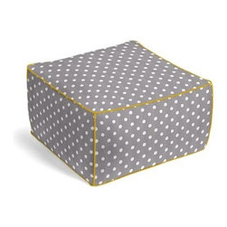 Gray & White Ikat Dot Custom Outdoor Pouf - The Outdoor Square Pouf does triple duty as the perfect poolside seat, patio footstool, or part-time picnic table. We love it in this gray and white ikat polka dot for the preppy modern outdoor space.