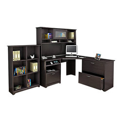 Bush - Bush Cabot 4-Piece Corner Computer Desk Office Set in Espresso Oak - Bush - Office Sets - WC3181503PKG2 -The Bush Cabot Collection Lateral File expands your work space and storage space at the same time. Designed to complement any Cabot Collection desk, the lateral file is the same height so you can seamlessly extend your work space. The lateral file features an interlocking drawer mechanism to prevent accidental tipping, and it comes equipped with full-extension ball-bearing drawer slides for years of dependable use. Available in Espresso Oak finish.