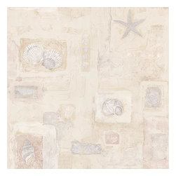 Brewster Home Fashions - Evie Beige Seashell Mosaic Wallpaper Bolt - From beach to home this charming shell wallcovering inspires a perfect relaxing escape with a beautiful mosaic design and serene tones of the sea.
