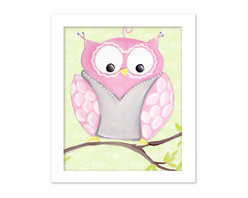 """Doodlefish - Opal Owl in White Raised Frame - 15""""x18"""" Framed Giclee of a happy pink and grey owl on soft green or pale pink background with a pretty scroll pattern. Artwork is available in various frame choices."""