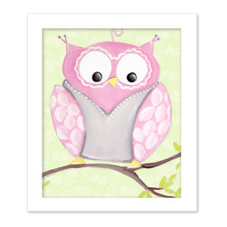 "Doodlefish - Opal Owl in White Raised Frame - 15""x18"" Framed Giclee of a happy pink and grey owl on soft green or pale pink background with a pretty scroll pattern. Artwork is available in various frame choices."