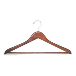 Proman Products - Genesis Suit Hanger in Light Walnut Finish - Set of 50. Chrome hardware