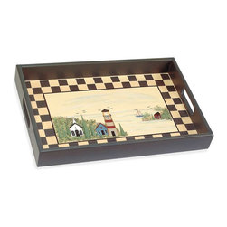 """Renovators Supply - Trays Multi Wood Lighthouse Tray 17 7/8"""" L x 12"""" W - Nautical themed hand-painted tray is 12"""" wide x 18"""" high."""