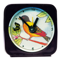 Yellow Bird Alarm Clock - Our alarm clocks can't help but make you smile. Made from an original painting, each clock is 2.25'' square with a round face. On our Yellow Bird Alarm Clock, the little butterfly flits magically around the bird as it counts the seconds. Each alarm clock comes in a gift box and includes a free battery. Made in the USA. (Be sure to look for our Yellow Bird wall clock and nightlight, too!)
