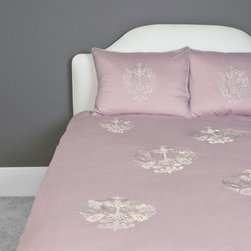 Luxe Embroidered Duvet Cover, The Lafayette Pink - This 350 thread count duvet cover is defined by its ornate and regally embroidered emblem scattered across a beautiful petal pink backdrop.