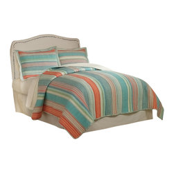 Pem America - Amagansett King Quilt with 2 Shams - Use this brightly colored casual stripe quilt for your master bedroom, guest bedroom or summer cottage.  Cotton face and cotton filling are a great comfort year round. King Quilt (100x90 inches) and 2 standard pillow shams (20x26 inches). Yarn dyed, 100% cotton face cloth with 94% cotton / 6% other fiber fill. 100% Cotton solid color reverse. Machine washable.