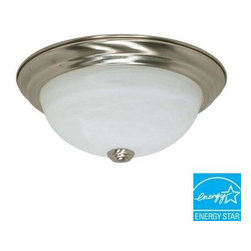 Green Matters - Green Matters 2-Light Flush-Mount Brushed Nickel Fluorescent Light Fixture HD-26 - Shop for Lighting & Fans at The Home Depot. Use the Green Matters 2-Light Flush-Mount Brushed Nickel Fluorescent Light Fixture to bring out your style. Featuring an elegant brushed nickel finish, this fixture comes with 2 energy-efficient fluorescent bulbs. This may take up to 5 days in delivery.