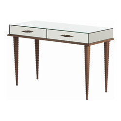 Arteriors - Saba Desk - Dainty and distinctive, this piece will work as a dressing table or writing desk in your setting of choice. It features mirrored glass, tapered spindle legs in a waxed walnut finish and antique brass drawer pulls.
