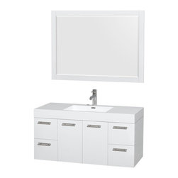"""Wyndham Collection - Wyndham Collection Amare 48"""" Wall-Mounted White - Wyndham Collection®"""