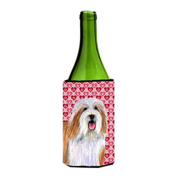 Caroline's Treasures - Bearded Collie Hearts Love Valentine's Day Portrait Wine Bottle Koozie Hugger - Bearded Collie Hearts Love and Valentine's Day Portrait Wine Bottle Koozie Hugger Fits 750 ml. wine or other beverage bottles. Fits 24 oz. cans or pint bottles. Great collapsible koozie for large cans of beer, Energy Drinks or large Iced Tea beverages. Great to keep track of your beverage and add a bit of flair to a gathering. Wash the hugger in your washing machine. Design will not come off.