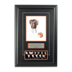 """Heritage Sports Art - Original art of the NFL 1994 Cleveland Browns uniform - This beautifully framed piece features an original piece of watercolor artwork glass-framed in an attractive two inch wide black resin frame with a double mat. The outer dimensions of the framed piece are approximately 17"""" wide x 24.5"""" high, although the exact size will vary according to the size of the original piece of art. At the core of the framed piece is the actual piece of original artwork as painted by the artist on textured 100% rag, water-marked watercolor paper. In many cases the original artwork has handwritten notes in pencil from the artist. Simply put, this is beautiful, one-of-a-kind artwork. The outer mat is a rich textured black acid-free mat with a decorative inset white v-groove, while the inner mat is a complimentary colored acid-free mat reflecting one of the team's primary colors. The image of this framed piece shows the mat color that we use (Orange). Beneath the artwork is a silver plate with black text describing the original artwork. The text for this piece will read: This original, one-of-a-kind watercolor painting of the 1994 Cleveland Browns uniform is the original artwork that was used in the creation of this Cleveland Browns uniform evolution print and tens of thousands of other Cleveland Browns products that have been sold across North America. This original piece of art was painted by artist Nola McConnan for Maple Leaf Productions Ltd. Beneath the silver plate is a 3"""" x 9"""" reproduction of a well known, best-selling print that celebrates the history of the team. The print beautifully illustrates the chronological evolution of the team's uniform and shows you how the original art was used in the creation of this print. If you look closely, you will see that the print features the actual artwork being offered for sale. The piece is framed with an extremely high quality framing glass. We have used this glass style for many years with excellent results. We pac"""