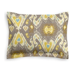 Gray, Yellow & Aqua Ikat Custom Sham - The Simple Sham may be basic, but it won't be boring!  Layer these luxurious reversible shams in various styles for a bed you'll want to fall right into. We love it in this colorful eclectic ikat cotton print in lilac with touches of mint, orange, and beige.