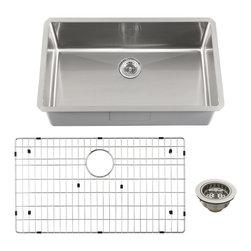 Schon - Schon Luxury 16 Gauge Single Bowl Radius Corner Kitchen Sink (SCRASB321916) - Schon SCRASB321916 Luxury 16 Gauge Single Bowl Radius Corner Kitchen Sink, Stainless Steel