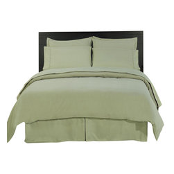 SCALA - 1000Tc Solid Sage Color King Size 3Pc Duvet Set - 100% Egyptian Cotton - We offer supreme quality Egyptian Cotton bed linens with exclusive Italian Finishing. These soft, smooth and silky high quality and durable bed linens come to you at a very low price as these come directly from the manufacturer. We offer Italian finish on Egyptian cotton, which makes this product truly exclusive, and owner's pride. It's an experience and without it you are truly missing the luxury and comfort!!