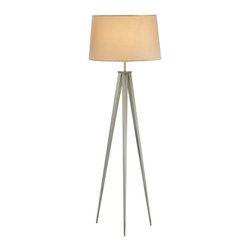Adesso - Adesso Producer Contemporary/Modern Floor Lamp X-22-4623 - Modeled after Adesso's Director collection, the Producer tripod lamps have a satin steel base with an off-white tapered drum shade. The cord runs through one leg and extends from the bottom.