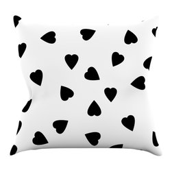 "Kess InHouse - Suzanne Carter ""Hearts Black"" White Throw Pillow (16"" x 16"") - Rest among the art you love. Transform your hang out room into a hip gallery, that's also comfortable. With this pillow you can create an environment that reflects your unique style. It's amazing what a throw pillow can do to complete a room. (Kess InHouse is not responsible for pillow fighting that may occur as the result of creative stimulation)."
