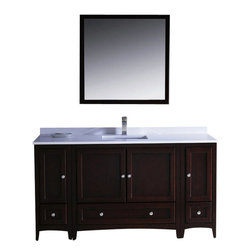 """Fresca - Oxford 60"""" Mahogany Vanity w/ 2 Side Cabinets Cascata Brushed Nickel Faucet - Blending clean lines with classic wood, the Fresca Oxford Traditional Bathroom Vanity is a must-have for modern and traditional bathrooms alike.  The vanity frame itself features solid wood in a stunning mahogany finish that?s sure to stand out in any bathroom and match all interiors.   Available in many different finishes and configurations."""