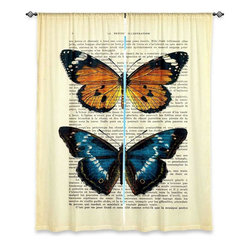 "DiaNoche Designs - Window Curtains Unlined from DiaNoche Designs by Madame Memento - Butterflies II - DiaNoche Designs works with artists from around the world to print their stunning works to many unique home decor items.  Purchasing window curtains just got easier and better! Create a designer look to any of your living spaces with our decorative and unique ""Unlined Window Curtains."" Perfect for the living room, dining room or bedroom, these artistic curtains are an easy and inexpensive way to add color and style when decorating your home.  The art is printed to a polyester fabric that softly filters outside light and creates a privacy barrier.  Watch the art brighten in the sunlight!  Each package includes two easy-to-hang, 3 inch diameter pole-pocket curtain panels.  The width listed is the total measurement of the two panels.  Curtain rod sold separately. Easy care, machine wash cold, tumble dry low, iron low if needed.  Printed in the USA."