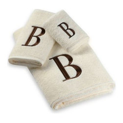Avanti - Avanti Premier Brown Block Monogram Bath Towels in Ivory - Classic and sophisticated, these monogrammed towels will add that subtle personal touch to your bathroom decor. Block letter is embroidered with great detail over an incredibly soft towel.