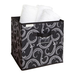 Laura Ashley - Marchmont Black Storage Cube - This Marchmont Black storage cube makes an attractive addition to your home storage collection. With handles and a label for convenience,this durable cube is perfect for storage excess towels,clothing,accessories or any other items.