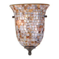 Quoizel - Quoizel MY8801ML Monterey Mosaic 1-Light Pocket Wall Sconce, Malaga - Quoizel MY8801ML Monterey Mosaic 1-Light Pocket Wall Sconce, Malaga The lovely mosaic design on the glass shades is made from genuine pen shell, bringing the beauty of nature into your home. The playful curls of the metal body add a whimsical element to the overall style. Its looks as wonderful in a beach house as it does in a modern loft.Dimensions: 14″ x 12″ x 8″.   Weight: 5lbs.
