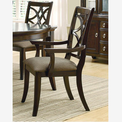 2 PC Casual Espresso Wood Dining Arm Chairs Fabric Cushioned Seating - Features