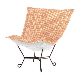 Howard Elliott - Geo Scroll Puff Chair - Mahogany Frame - Taking it to the Backyard! Now you can take your favorite chair outside with you. The Geo Patio Puff Chair has been designed to withstand the elements with Its special fabric cover and foam insert. The fun, bright color selection of the Geo Patio Puff Chair will fill your yard with the colors of summer.