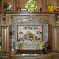 Italian Kitchen Tile Backsplash Mural by Linda Paul - Italian Kitchen Tile Mural backsplash by artist Linda Paul.