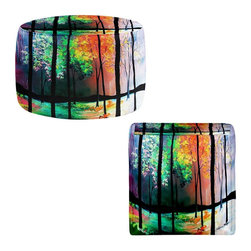 DiaNoche Designs - Ottoman Foot Stool - The Four Seasons - Lightweight, artistic, bean bag style Ottomans. You now have a unique place to rest your legs or tush after a long day, on this firm, artistic furtniture!  Artist print on all sides. Dye Sublimation printing adheres the ink to the material for long life and durability.  Machine Washable on cold.  Product may vary slightly from image.