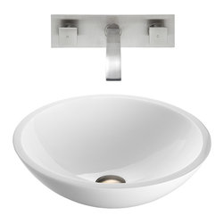 VIGO Industries - VIGO Flat Edged White Phoenix Stone Glass Vessel Sink, Brushed Nickel - The VIGO Flat Edged Phoenix Stone Vessel Sink with Brushed Nickel Wall Mount Faucet will compliment a clean and fresh design style.