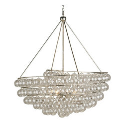 """Currey and Company - Stratosphere Chandelier - Looking as if it has just swooped in from the stratosphere, this striking piece makes a big statement with both its size and the allure of its elements. Blown glass balls gleam with reflected light and the simple metal frame is finished with a complementary """"Contemporary Silver Leaf."""