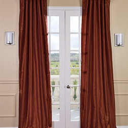 Burnt Orange Vintage Textured Faux Dupioni Silk Curtain - Our Vintage Textured Faux Silk curtains & drapes have a slight sheen that mimics the finest texture of silk dupioni. These curtains bring the look of luxury without the cost or high-maintenance care. Built-in are two header designs within a single panel. The attached back tabs for a formal pleated look and a traditional pole pocket.