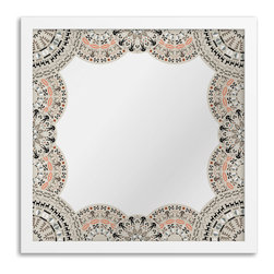 Gallery Direct - Gallery Direct Doily Border Art Mirror - Reflect your artistic side with a mirror that is both beautiful and functional. A richly ornate border is printed directly onto the surface of the framed mirror with the highest quality latex inks. The result is a stunningly unique mirror. The perfect design solution for an entryway, gallery wall, bedroom or dorm room.